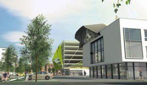 Salamander-Areal: Innenbereich mit geplantem Hotel und Parkhaus