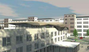 Geplantes Hotel mit Dachterrasse und Sky Lounge, hinten: künftige Mietwohnungen