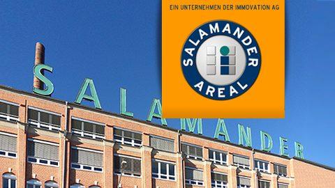 """Salamander-Areal, Kornwestheim, Gebäude mit Schriftzug """"Salamander"""""""