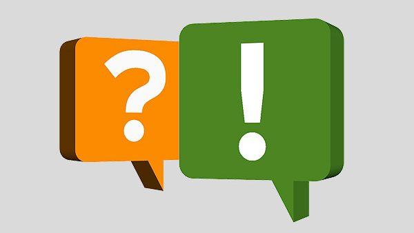Fragezeichen und Ausrufezeichen in Sprechblasen