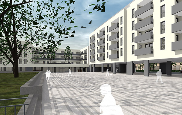 Die geplanten Wohngebäude sind von der historischen Architektur des Industriedenkmals inspiriert und übersetzen sie in eine zeitgemäße Form.