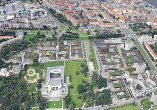Projekt Lingner Altstadtgarten Dresden - Luftbild Planung