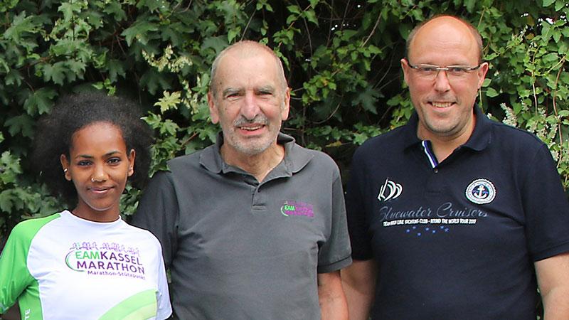 Sponsoring EAM Kassel Marathon, v.l.n.r.: Melat Kejeta, Winfried Aufenanger, Lars Bergmann