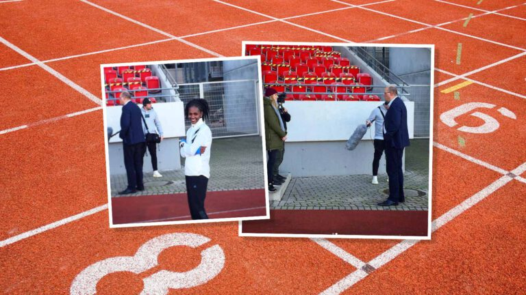 Melat Kejeta und Lars Bergmann bei den Dreharbeiten des ZDF